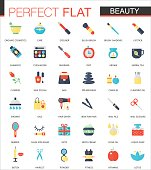 Vector set of flat Beauty Cosmetic icons.