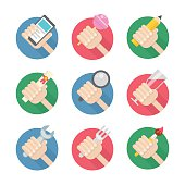 Vector set of flat hand icons