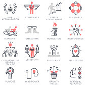 Vector set of flat linear icons related to business management, strategy, career progress and business process