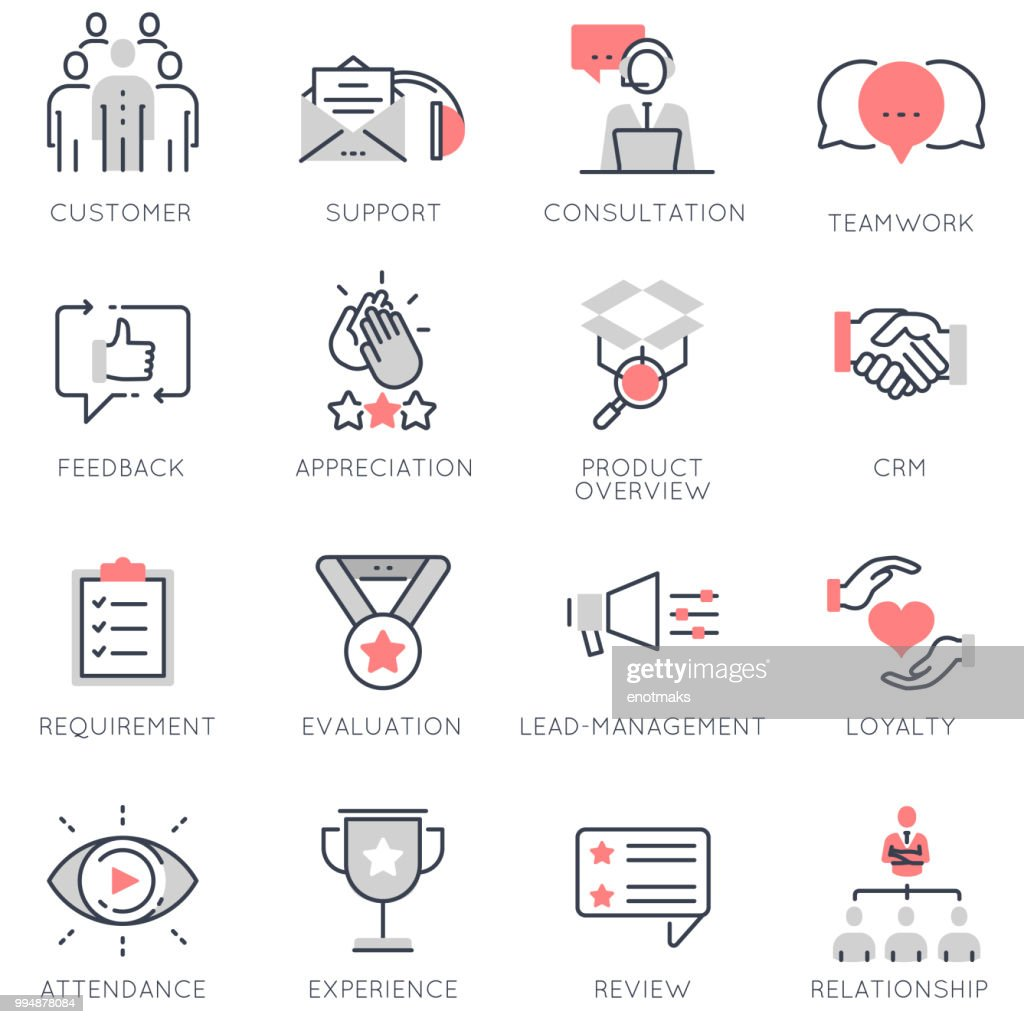 Vector set of flat linear icons related to business management, feedback, relationship and evaluation