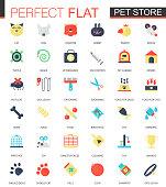 Vector set of flat Pet friend icons.