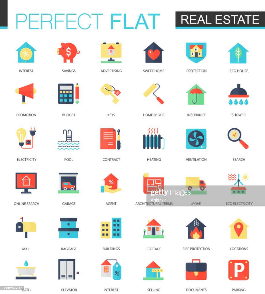 Vector set of flat Real estate icons.