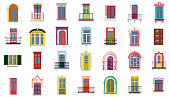Vector set of flat vintage colorful decorative doors, windows, balconies.