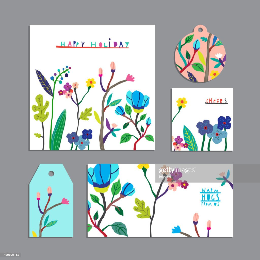 Vector set of floral cards with flowers