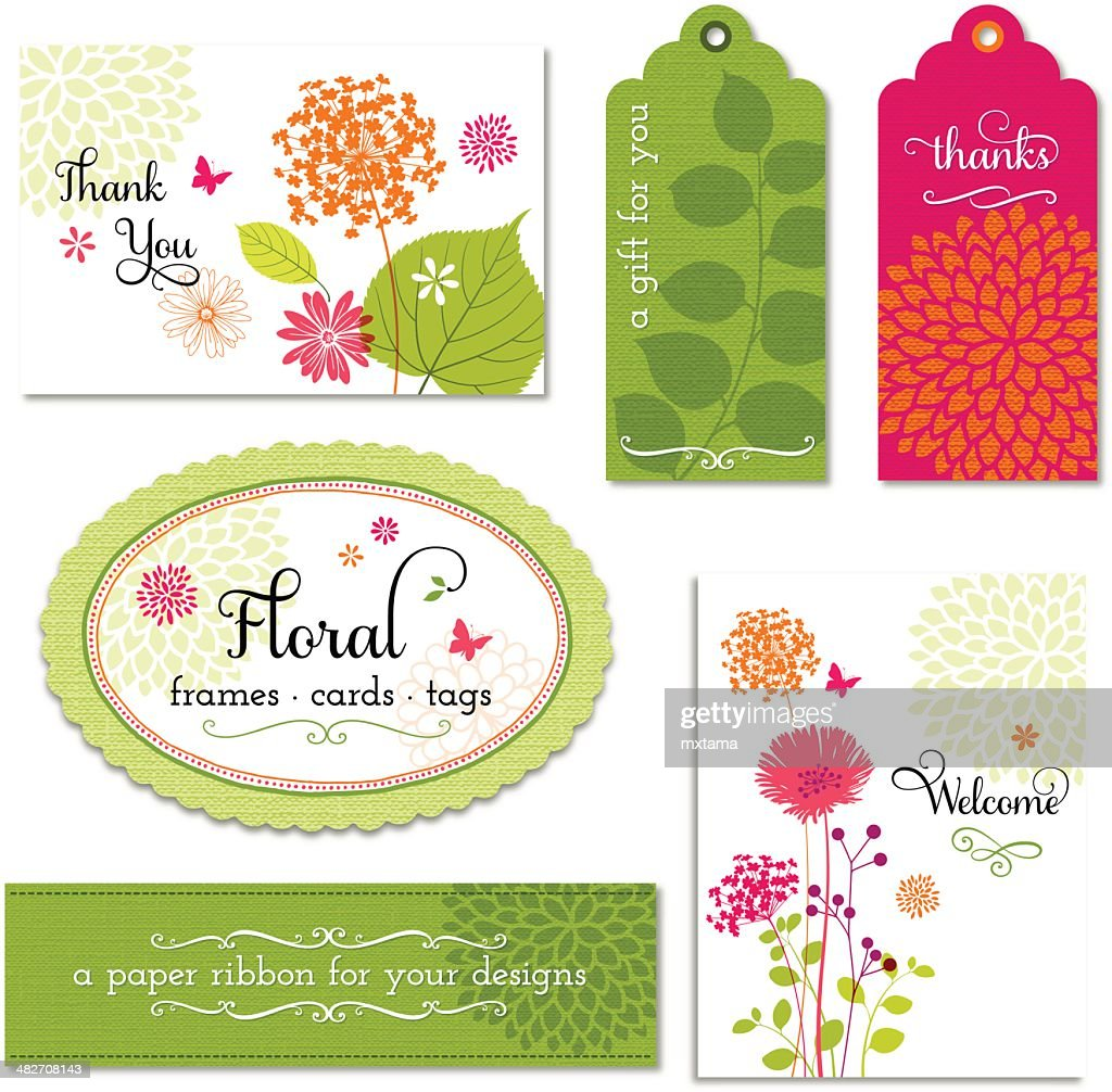 Vector set of floral frames, tags and cards