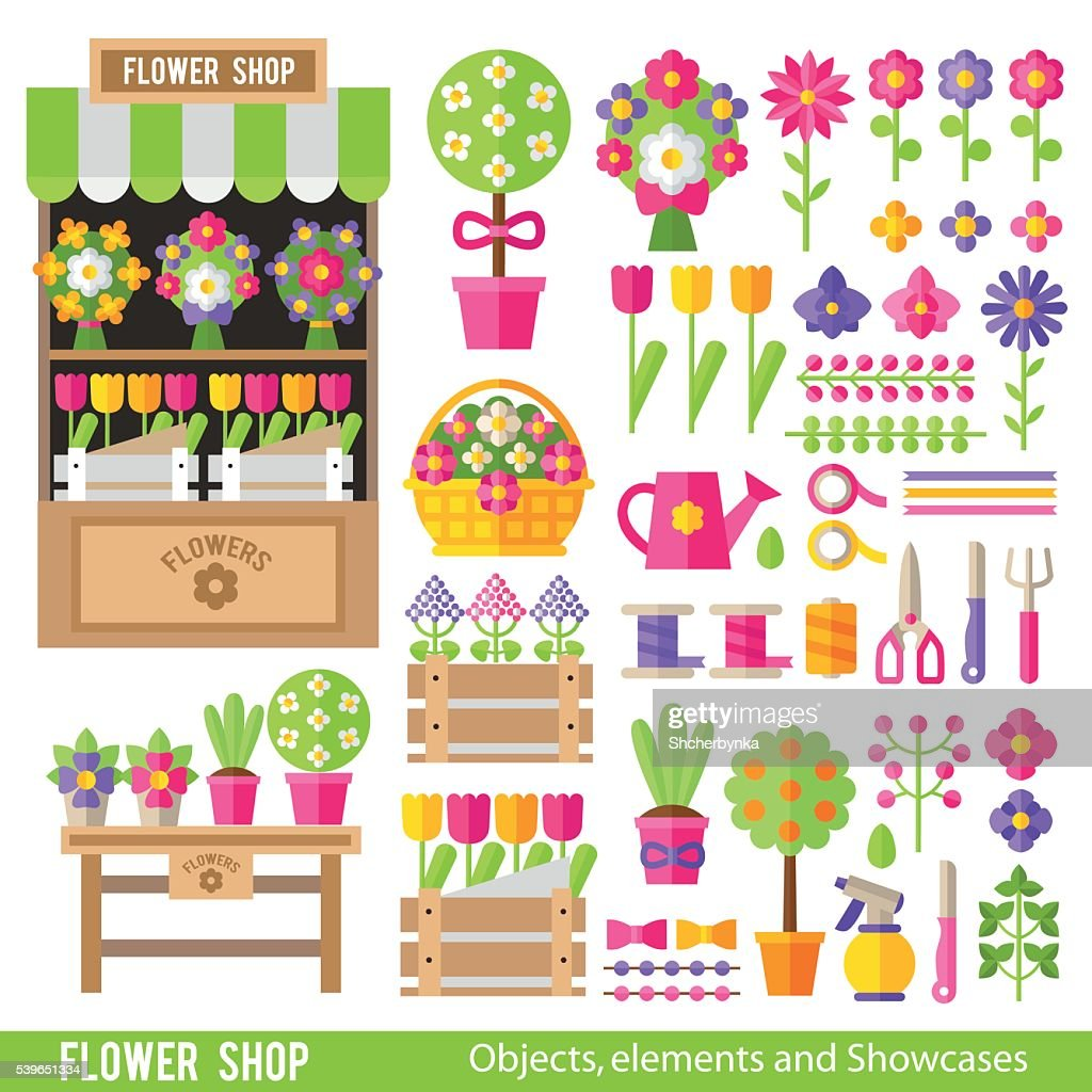 Vector set of flowers and florist tools in  flat style.
