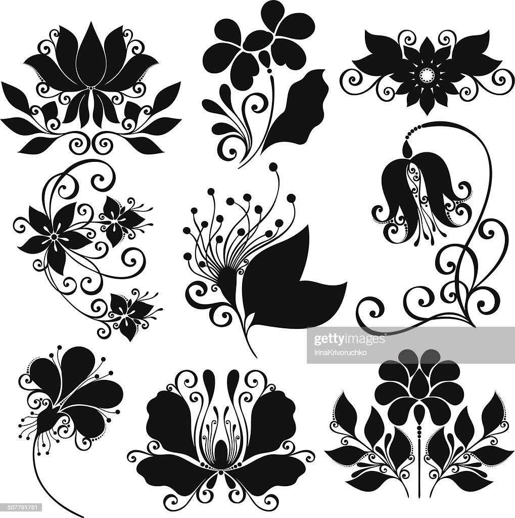Vector Set of Flowers. Stencils Isolated