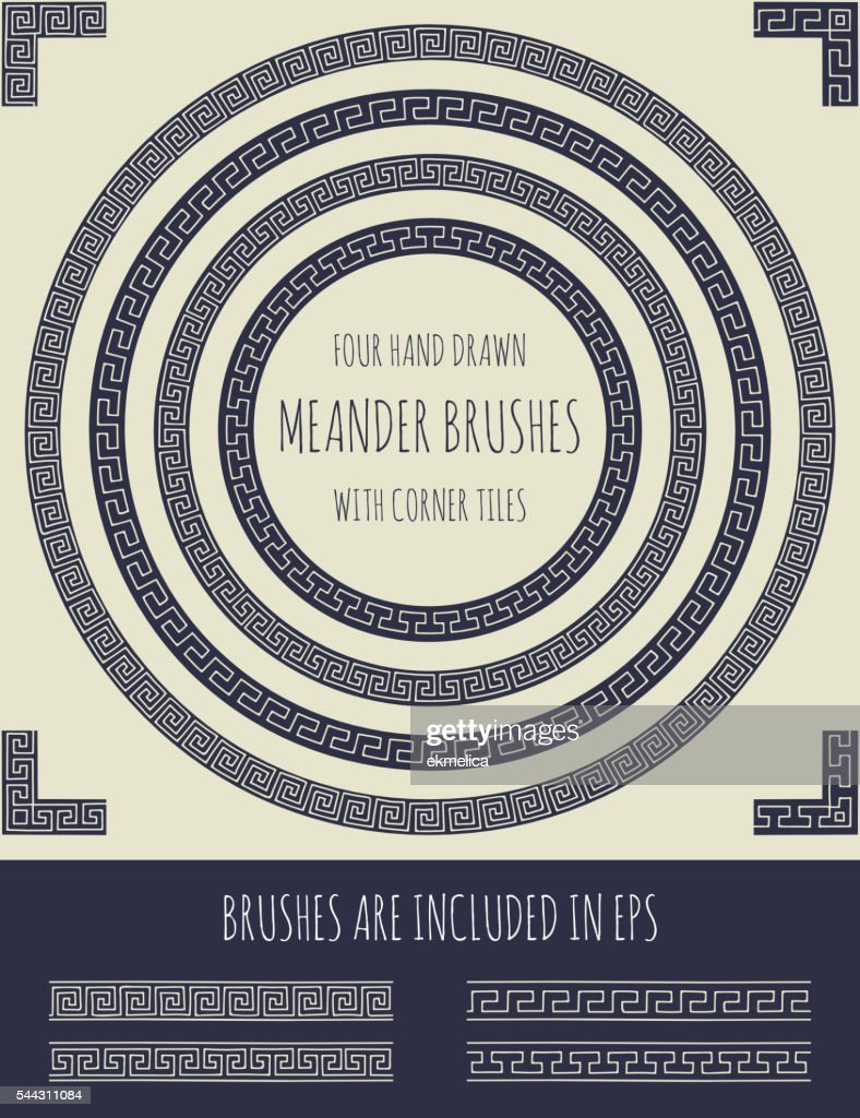 Vector set of four hand drawn meander brushes
