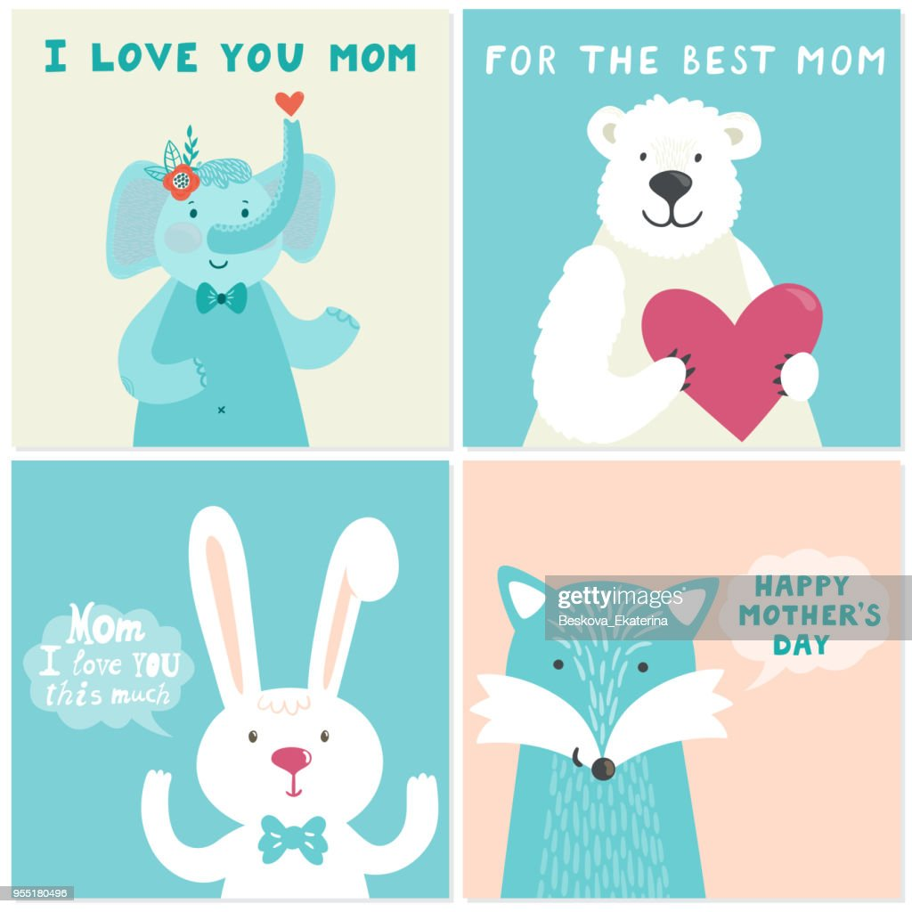 Vector set of four illustrations with cute smiling cartoon characters: elephant, bear, rabbit, fox and hand written text for Mother's day. Holiday cards.