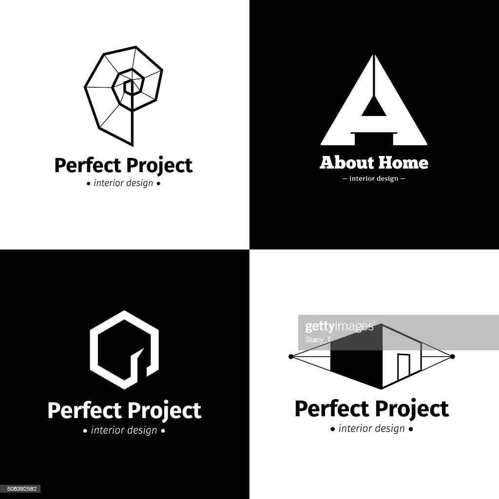 Vector set of four modern minimalistic interior design studio icons.