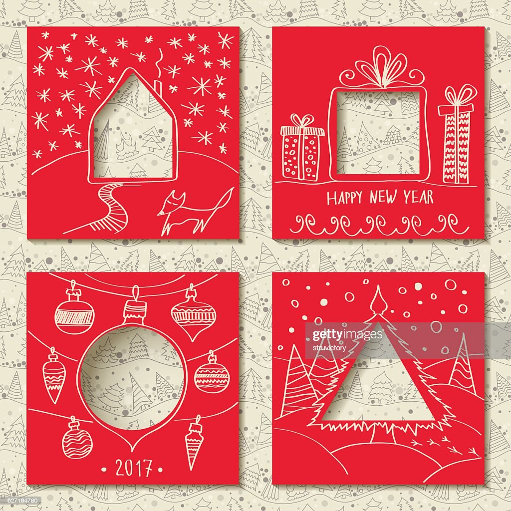 Vector set of four templates for paper Christmas cards.