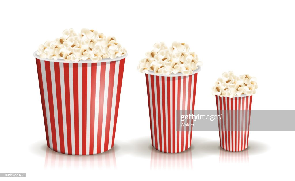 Vector set of full red-and-white striped popcorn buckets in different sizes.