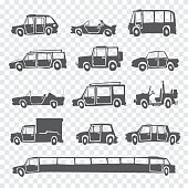 Vector set of funny cartoon car.