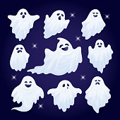 Vector set of funny Halloween ghost characters.