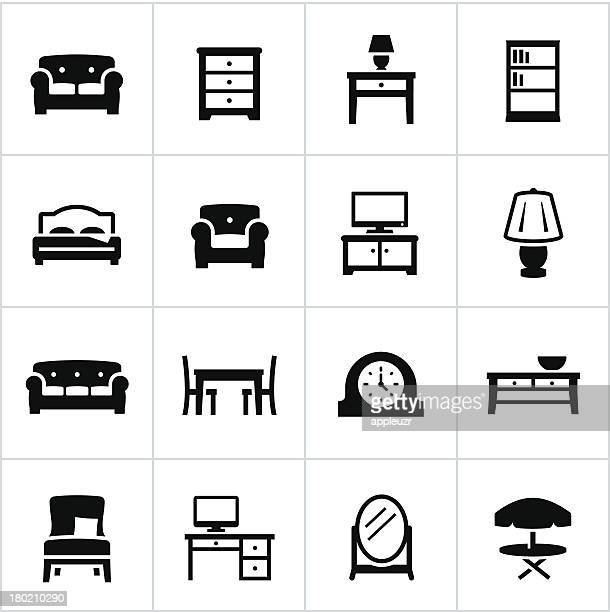 vector set of furniture icons - furniture stock illustrations, clip art, cartoons, & icons