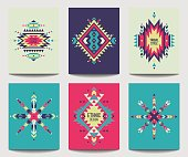 Vector set of geometric abstract colorful flyers. Ethnic design brochure templates. Modern tribal backgrounds in boho style.
