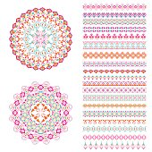 Vector set of geometric borders and mandalas in ethnic boho style. Collection of pattern brushes inside