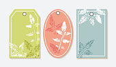 Vector Set of Gift Tags with Leaf Stamp. Leaf imprints design collection. Vintage Eco Labels with Leaves Silhouettes