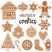 Vector set of gingerbread cookies: house, gingerbread man, stars, snowflakes, Christmas ornaments, sock, mitten, sugar cane and Christmas tree. Collection of homemade holiday cookies. New Year bakery.