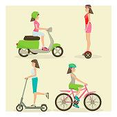 Vector set of girls riding modern street transport flat symbols