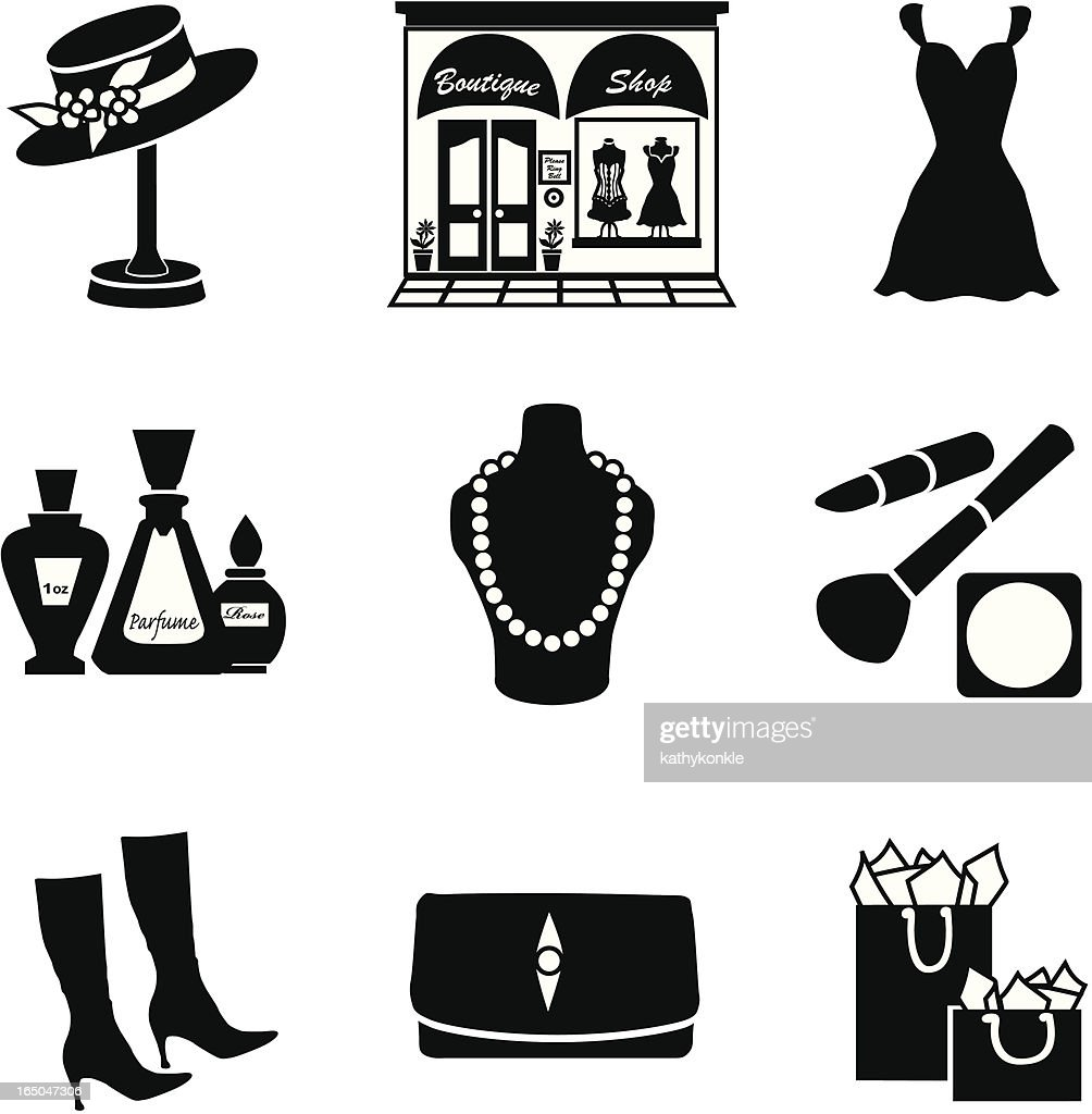 Vector set of glamorous shopping icons in black silhouette