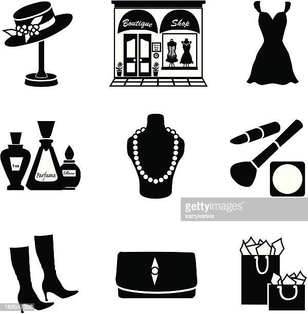 vector set of glamorous shopping icons in black silhouette - mannequin stock illustrations, clip art, cartoons, & icons