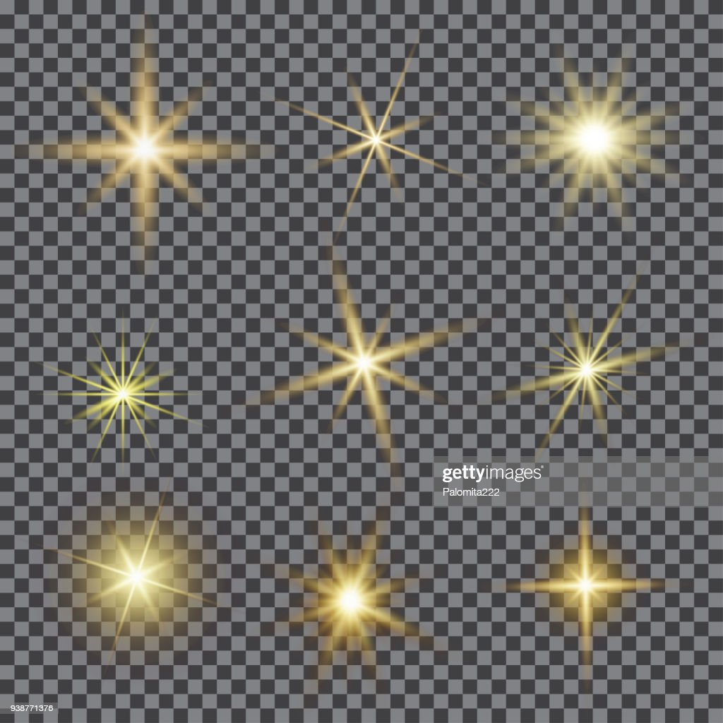 Vector set of glare lighting, twinkle lens flares