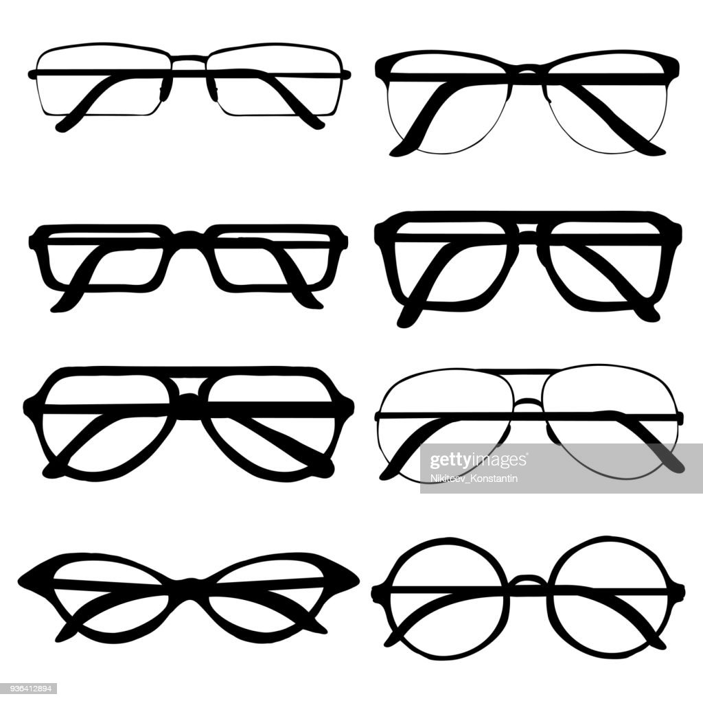 Vector Set of Glasses Rims Silhouettes