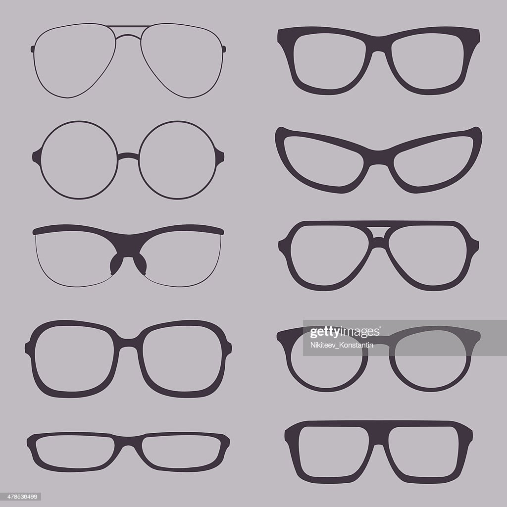 Vector Set of Glasses Silhouettes
