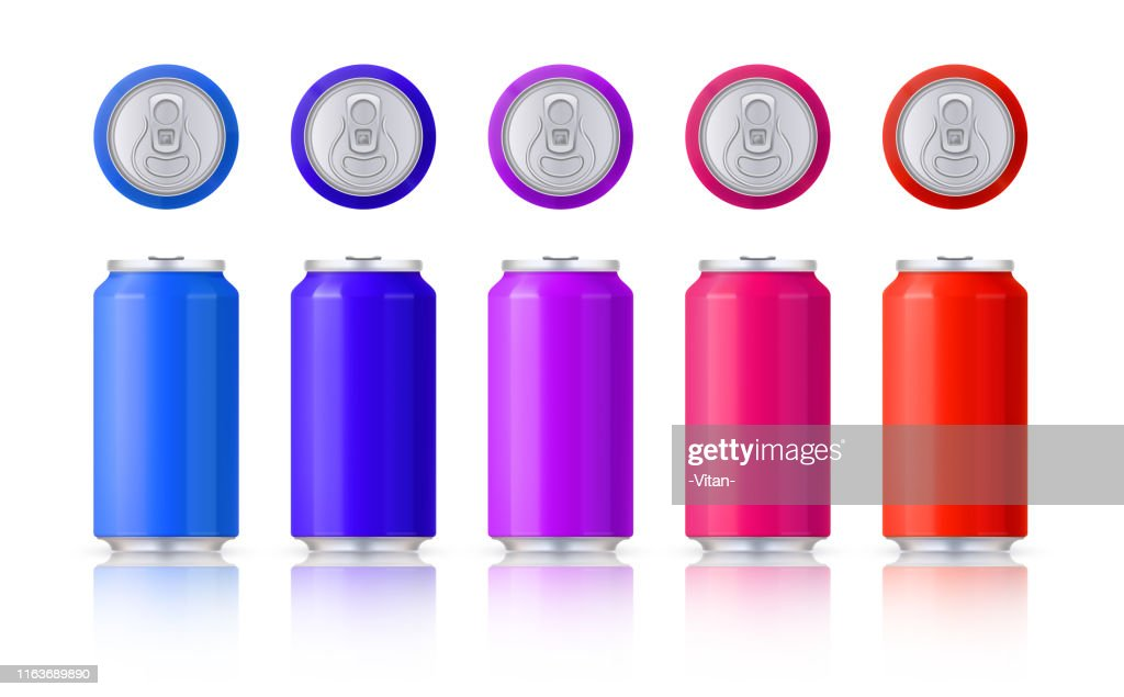 Vector set of glossy colored aluminum cans. Template on a white background with reflection. Vector. : stock illustration