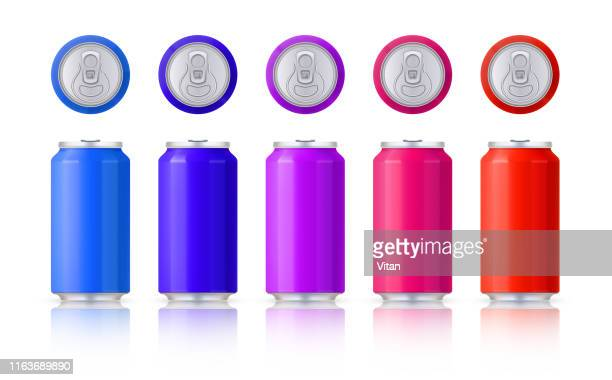 vector set of glossy colored aluminum cans. template on a white background with reflection. vector. - drink can stock illustrations, clip art, cartoons, & icons