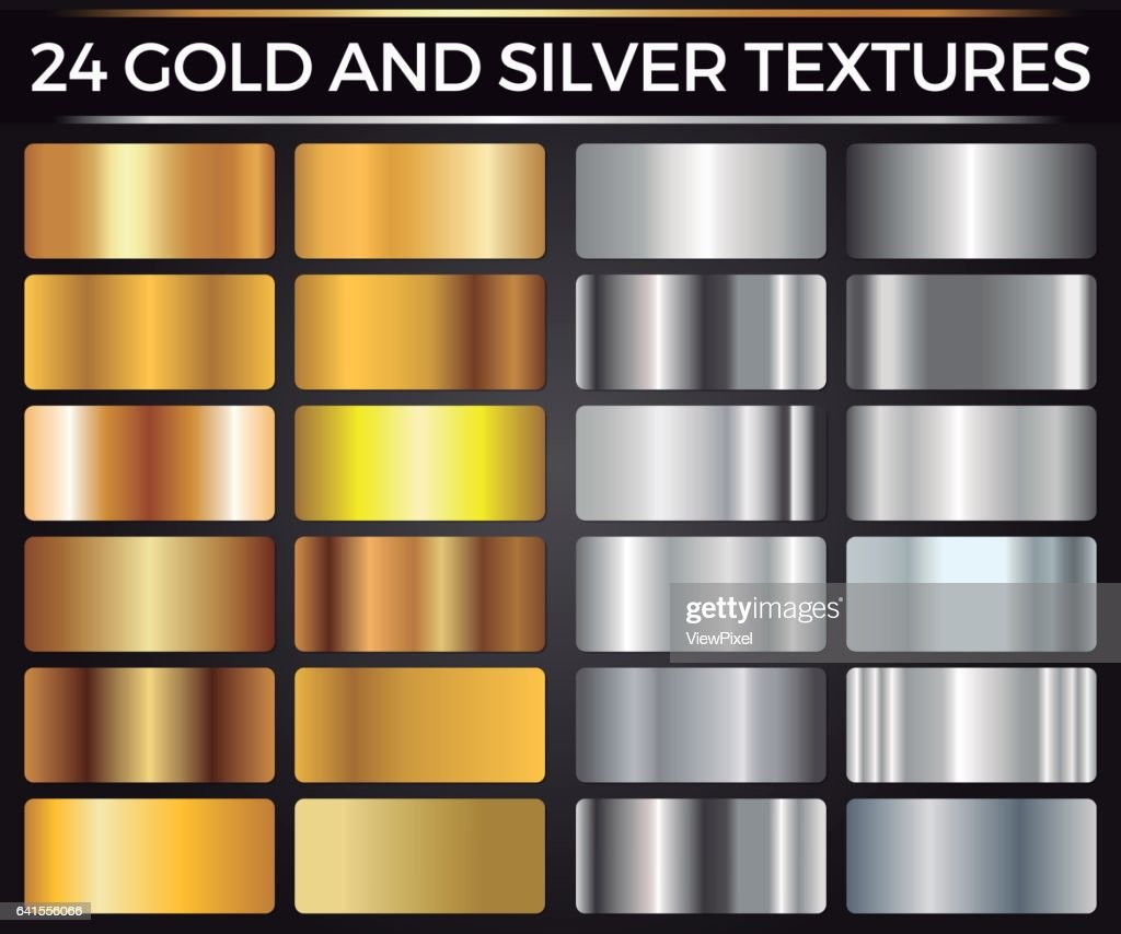 Vector Set of Gold and Silver Gradients, Gold and Silver Squares Collection, Textures Group