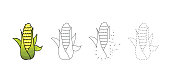 Vector set of golden ear of corn kids drawing. Child vegetables educational game page.