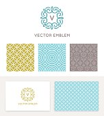 Vector set of graphic design elements and logo design templates