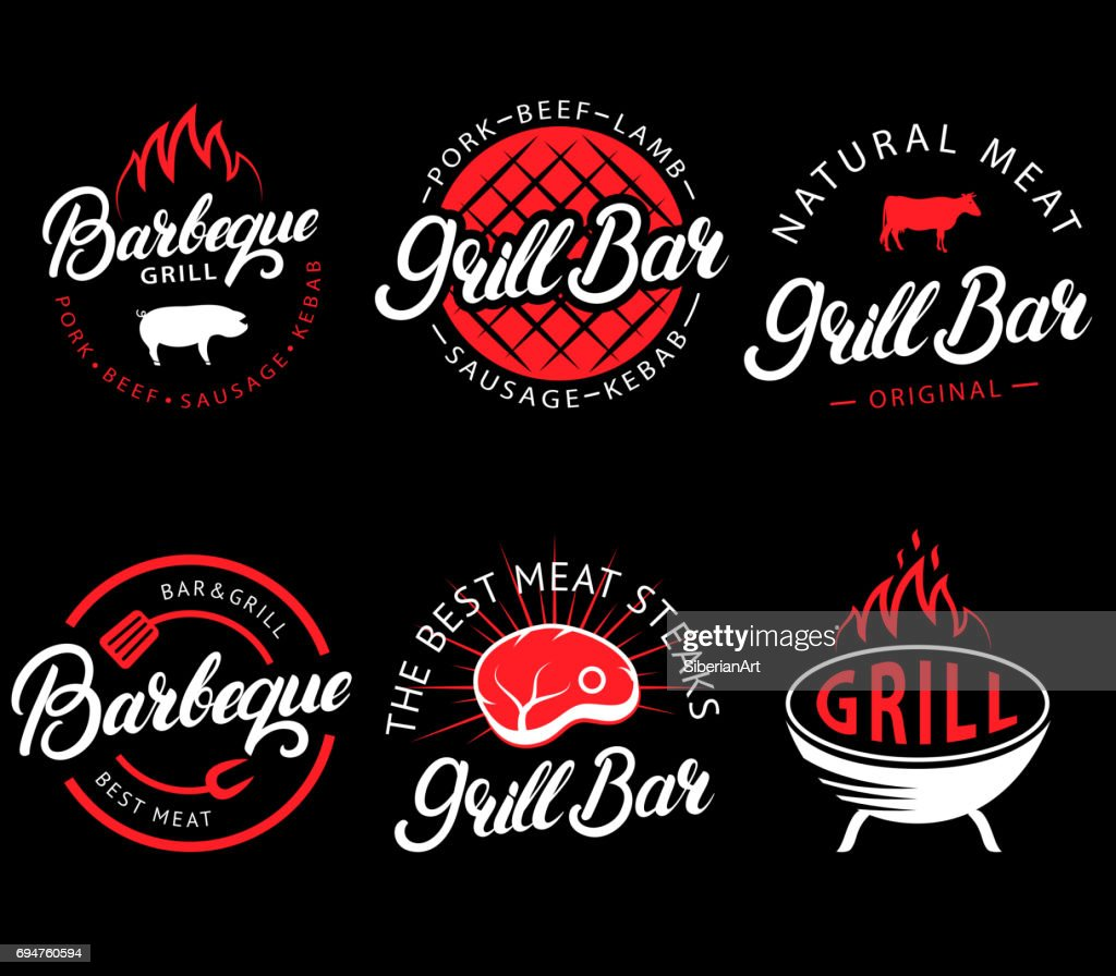Vector set of grill bar and bbq labels in retro style. Vintage grill restaurant emblems, icon, stickers and design elements. Collection of barbecue signs, symbols and icons. Black and red color style