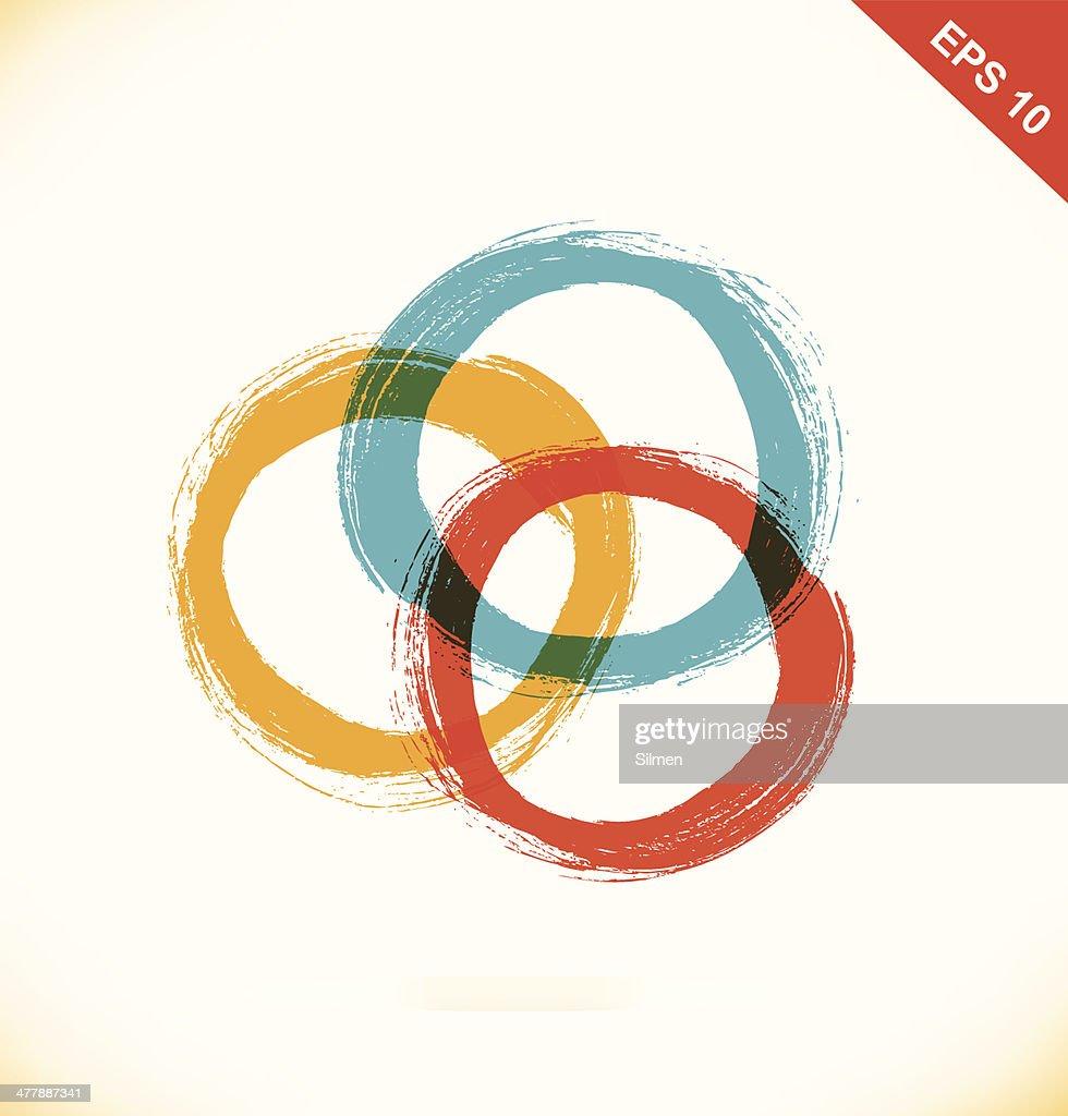 Vector set of grunge drawing circles