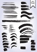 Vector set of grunge watercolor brush strokes
