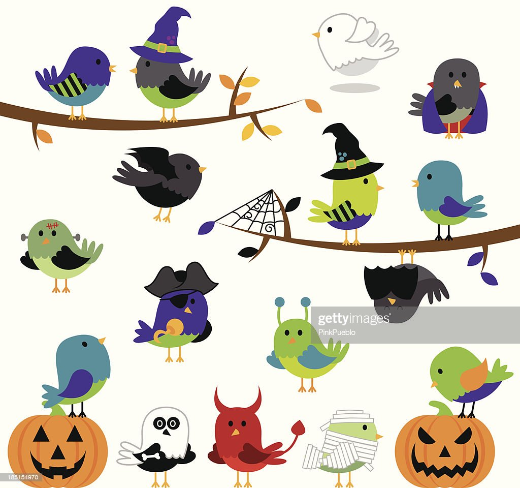Vector Set of Halloween Themed Cartoon Birds