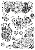 vector set of hand drawing doodle flower, doodle art designs