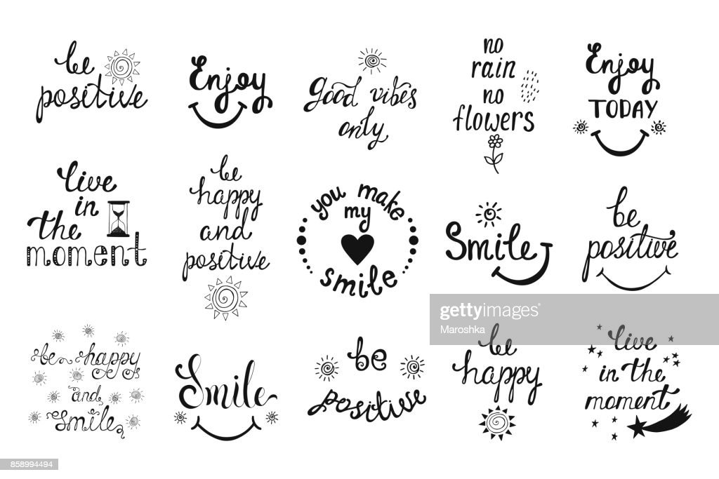 Vector set of hand drawn calligraphy phrases. Positive typography design.
