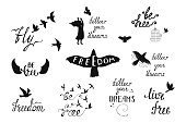 Vector set of hand drawn calligraphy phrases with flying birds, angel wings. Romantic typography design. Motivation and inspiration quot