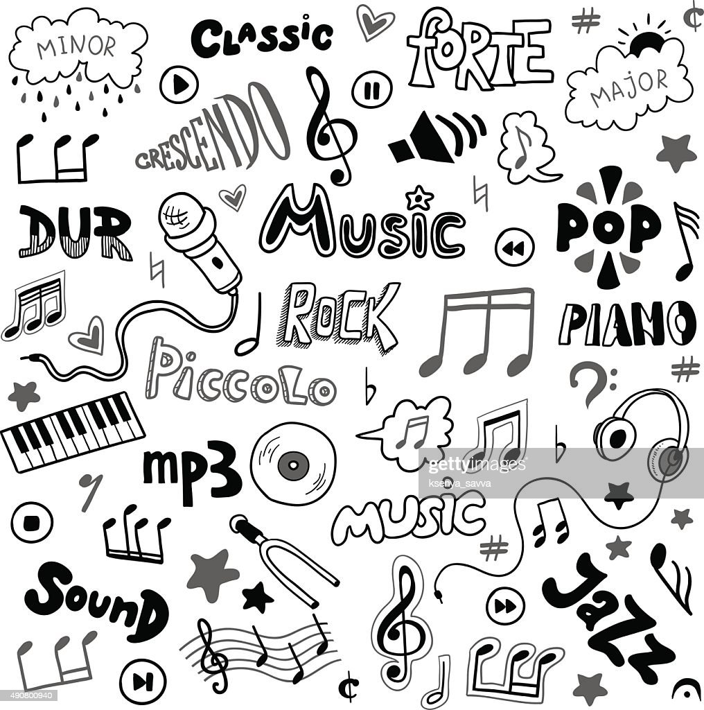 Vector set of hand drawn doodles on music theme