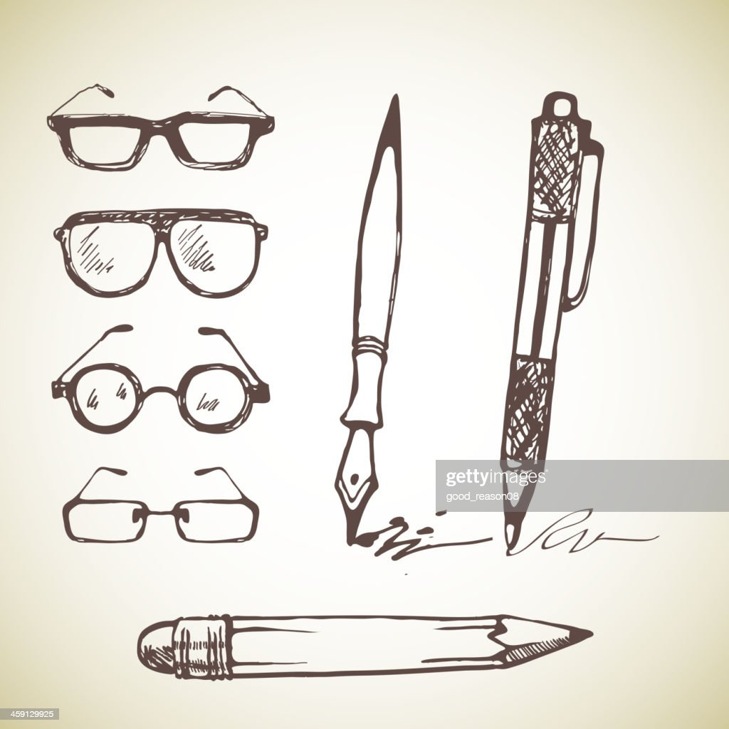 Vector set of hand drawn pens and glasses.