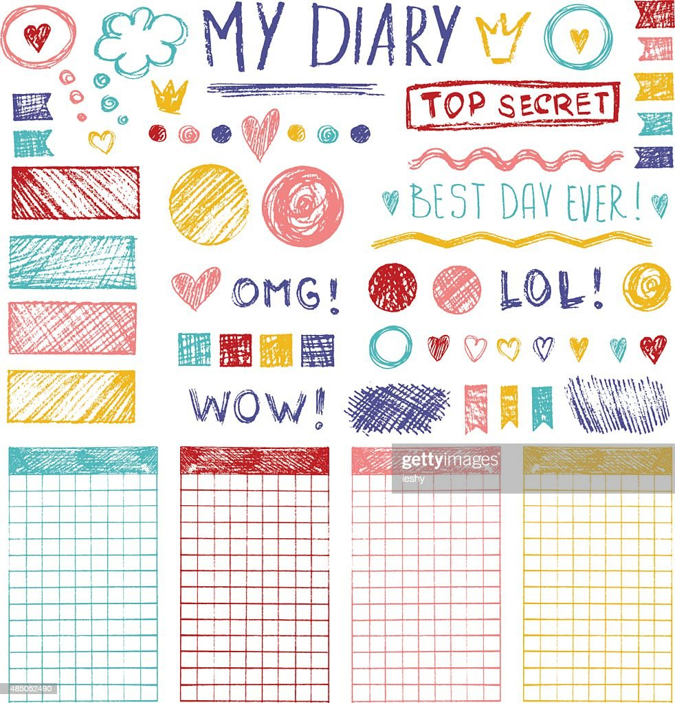 Vector set of hand drawn sketch elements for girl's diary