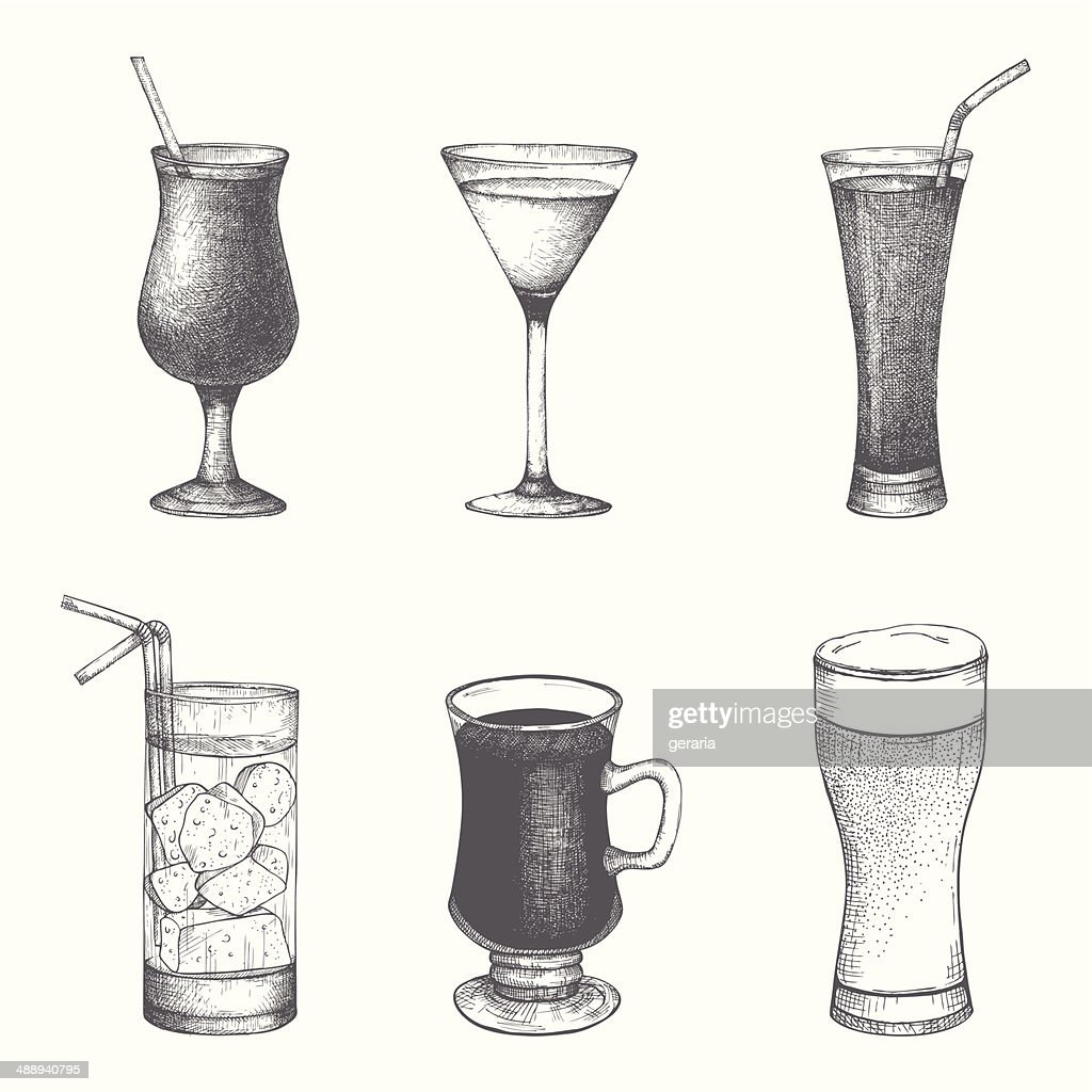 Vector set of hand drawn vintage cocktails and drinks.
