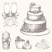 Vector set of hand drawn wedding cake design elements
