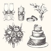 Vector set of hand drawn wedding elements