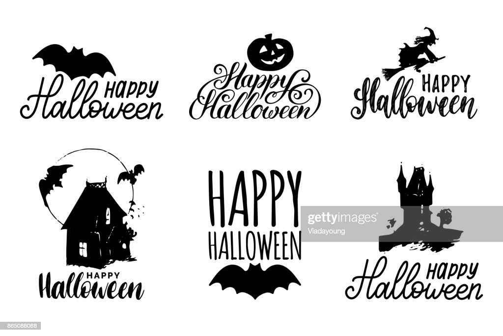 Vector Set Of Hand Lettering With Happy Halloween Phrase And