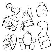 vector set of handbags