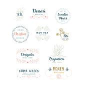 Vector set of handdrawn floral logos